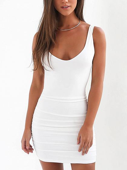 White Scoop Neck Open Back Bodycon Mini Dress