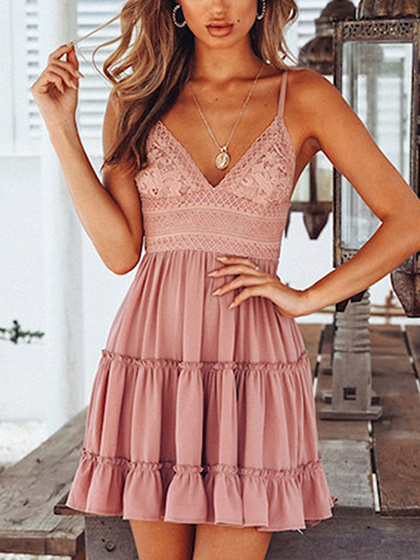 Pink Spaghetti Strap Plunge Lace Panel Open Back Mini Dress