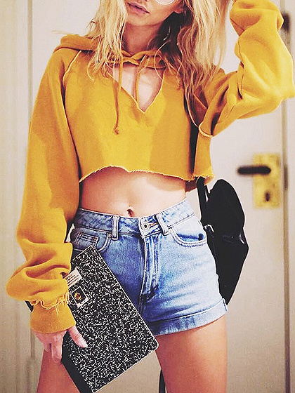 Yellow Cut Out Front Long Sleeve Crop Hoodie