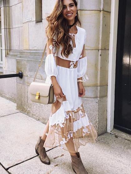 White V-neck Sheer Mesh Panel Tie Detail Long Sleeve Midi Dress