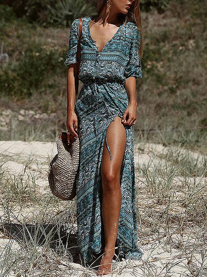 Blue V-neck Folk Print Thigh Split Front Maxi Dress