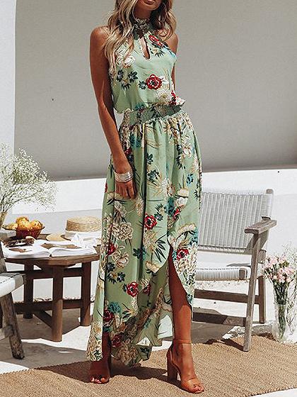 Robe Maxi à manches longues vert foncé à encolure haute et à imprimé floral