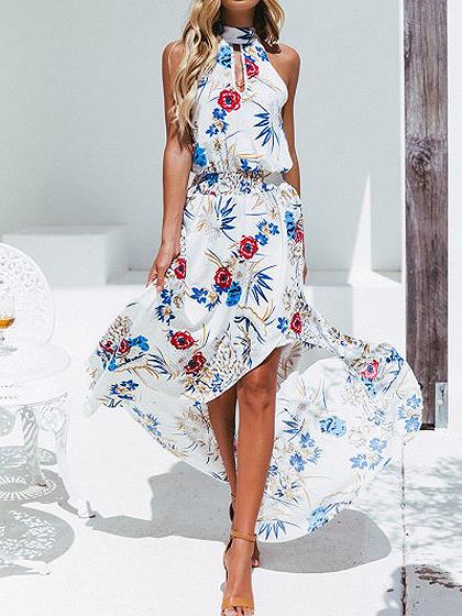 White High Neck Floral Print Thigh Split Front Hi-Lo Maxi Dress