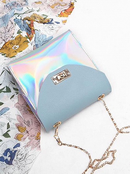 Blue Leather Look Buckle Detail Chain Strap Cross Body Bag