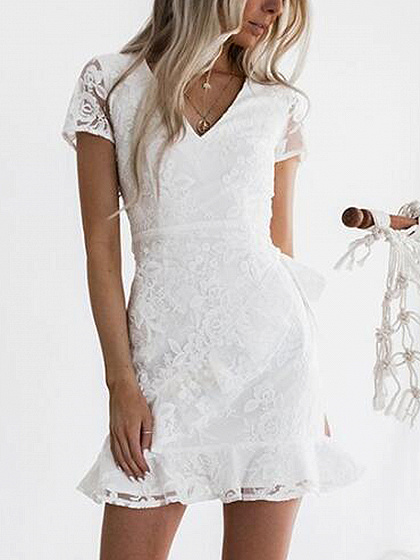 White V-neck Tie Waist Sheer Panel Ruffle Hem Mini Dress