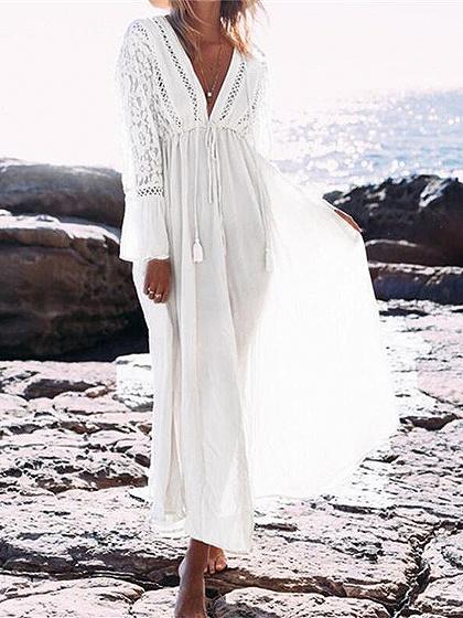 Vestido maxi de manga larga con cintura ajustable y lazo blanco