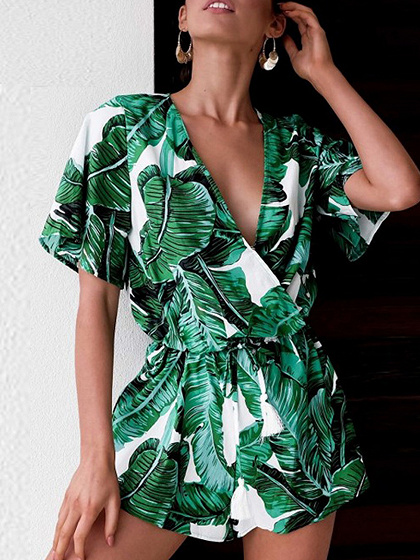 Green V-neck Leaf Print Drawstring Waist Romper Playsuit