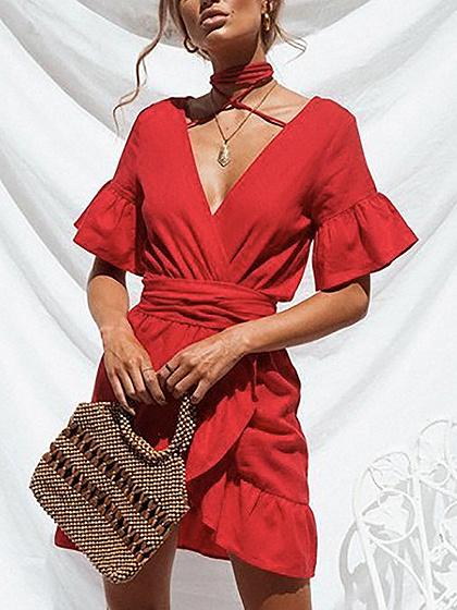 Red Halter V-neck Tie Waist Ruffle Hem Flare Sleeve Mini Dress