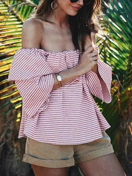 Pink Stripe Off Shoulder Ruffle Trim Flare Sleeve Blouse