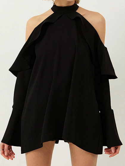 Black Halter Cold Shoulder Ruffle Trim Long Sleeve Mini Dress