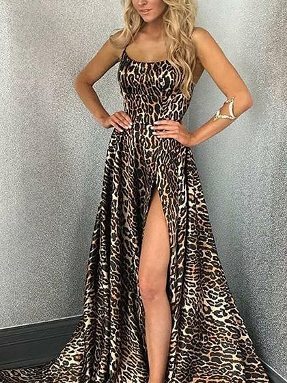 Khaki Leopard Print Thigh Split Front Open Back Slip Maxi Dress