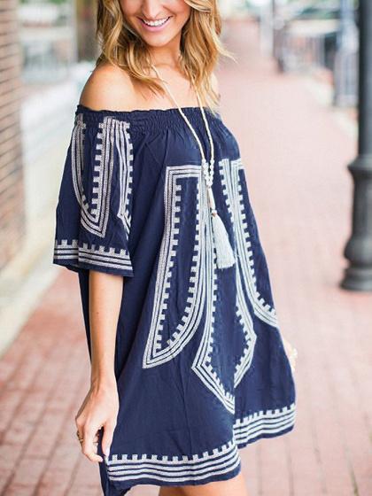 Dark Blue Off Shoulder Folk Print Mini Dress