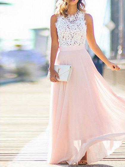 Pink Lace Panel Maxi Dress