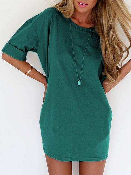 Green Half Sleeve Tee Dress-top
