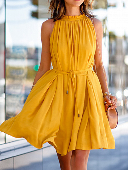 Yellow Tie Waist Pocket Detail Frill Trim Sleeveless Mini Dress