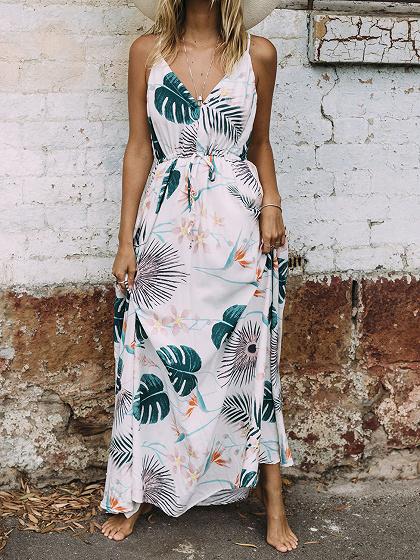 White V-neck Leaf Print Drawstring Waist Maxi Dress
