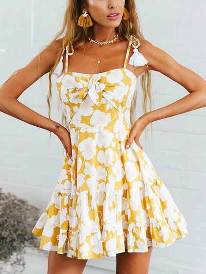 Gelb Spaghetti Strap Blumendruck Tie Front Mini Dress