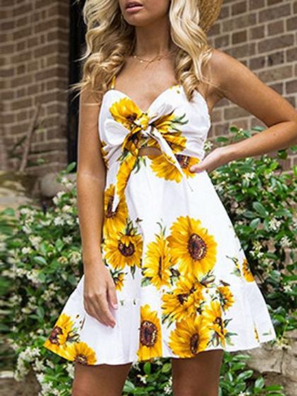 Weiß V-Ausschnitt Sunflower Print Tie vorne offen zurück Cami Minikleid