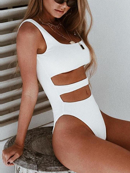 White Cut Out Detail Open Belly Bodysuit