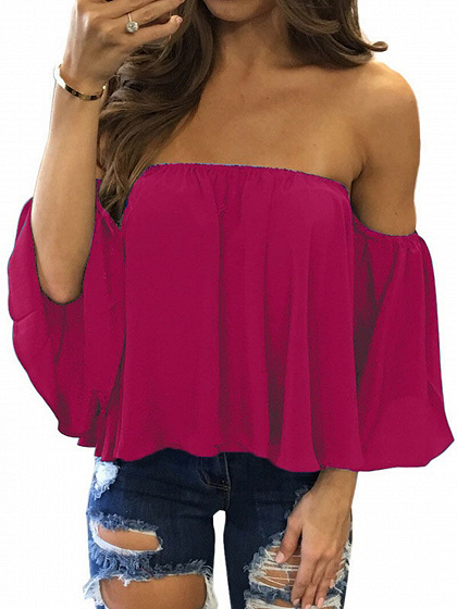 Hot Pink Off Shoulder Long Sleeve Blouse