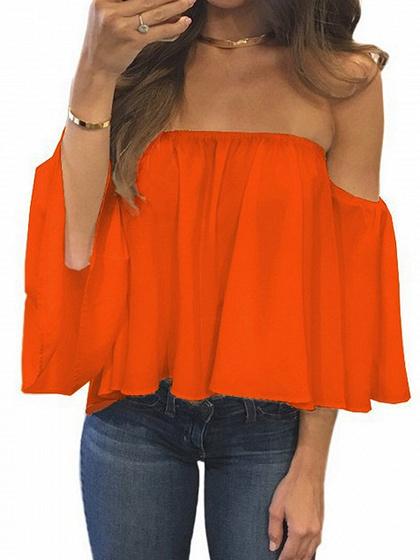 Orange Off Shoulder Long Sleeve Blouse