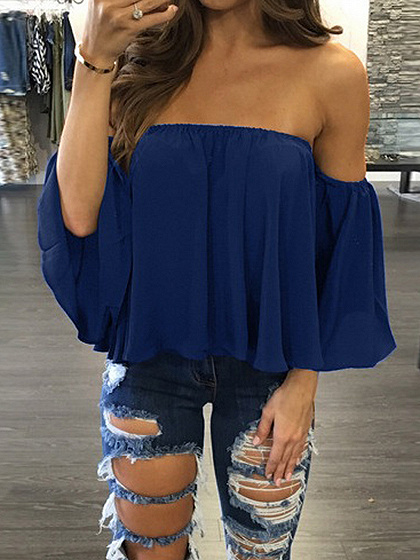 Dark Blue Off Shoulder Long Sleeve Blouse