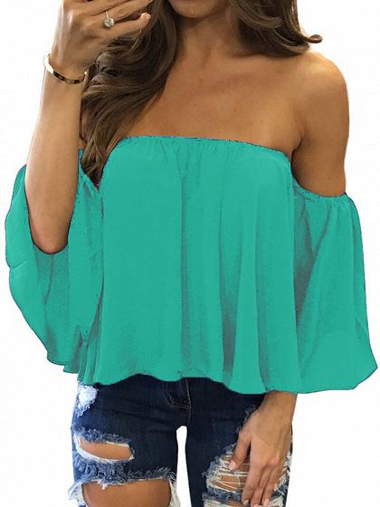 Blue Off Shoulder Long Sleeve Blouse