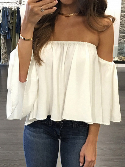White Off Shoulder Long Sleeve Blouse