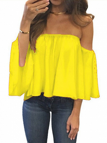 Yellow Off Shoulder Long Sleeve Blouse
