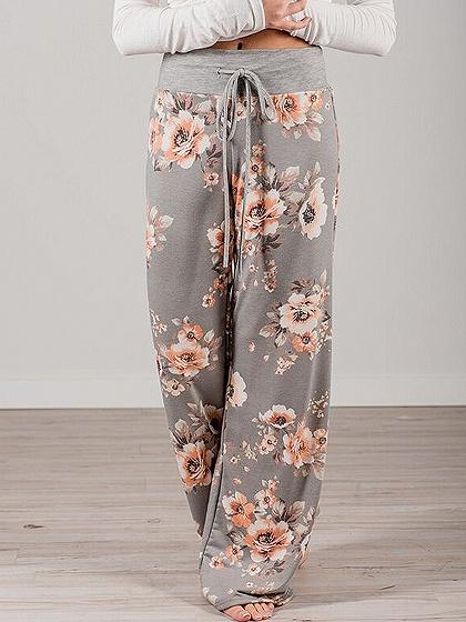 Polychrome Floral Print Drawstring Waist Wide Leg Pants