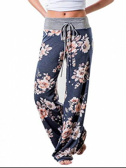 Dark Gray Floral Print Drawstring Waist Wide Leg Pants