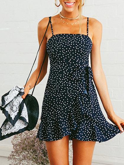 Navy Blue Polka Dot Print Ruffle Hem Cami Mini Dress