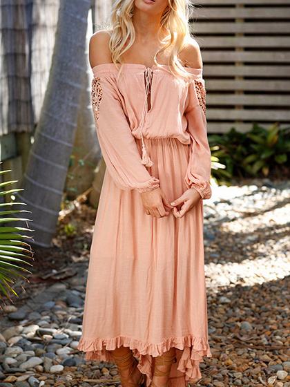 Pink Off Shoulder Cut Out Drawstring Long Sleeve Hi-Lo Dress