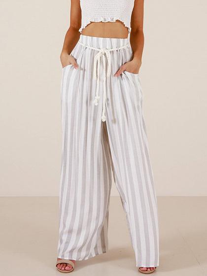 White Stripe Cotton High Waist Pocket Detail Chic Women Wide Leg Pants