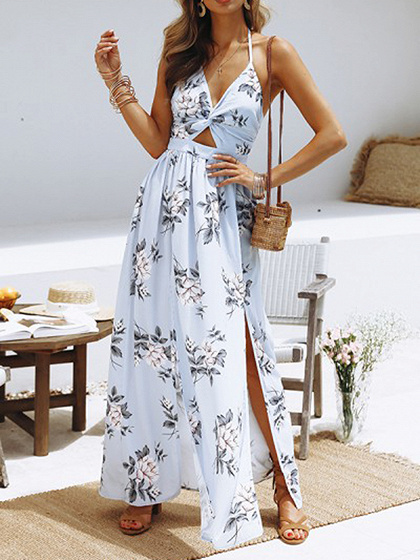 Light Blue Plunge Floral Print Maxi Dress