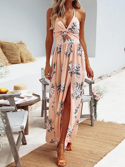 Pink Plunge Halter Floral Print Thigh Split  Chic Women Maxi Dress