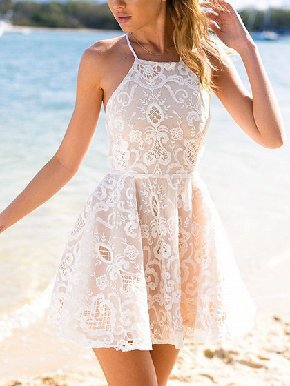 White Halter Chic Women Mini Lace Dress