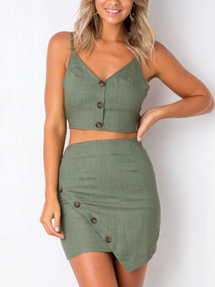 Green Cotton V-neck Chic Women Crop Top And High Waist Mini Dress