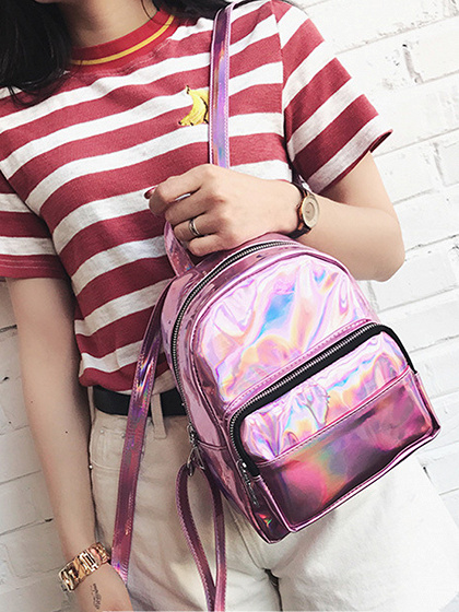 Pink Zip Detail Chic Women Backpack