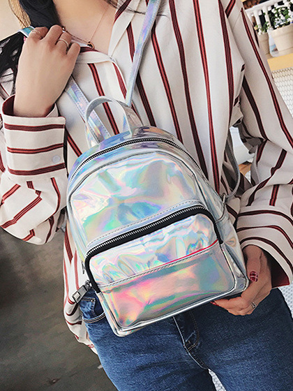 Silver Zip Detail Chic Women Backpack