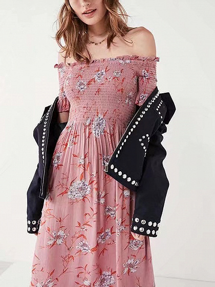 Pink Chiffon Off Shoulder Floral Print Ruched Chic Women Midi Dress