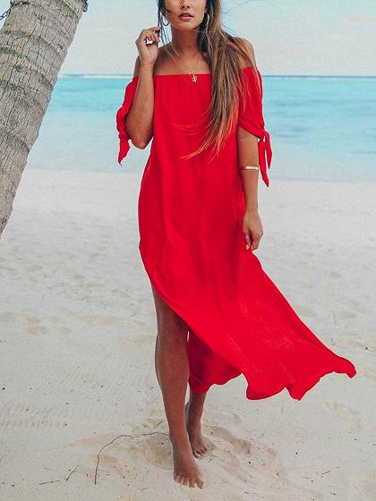 Red Off Shoulder Irregular Thigh split Chic Women Midi Dress