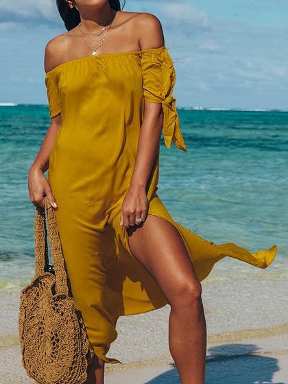 Yellow Off Shoulder Irregular Thigh split Chic Women Midi Dress