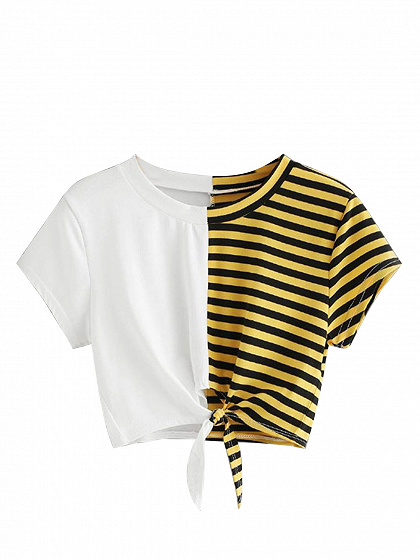 White Cotton Stripe Panel Tie Front Chic Women T-shirt