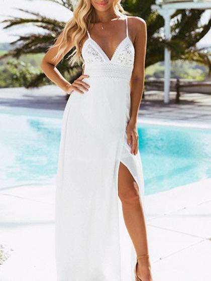 White Cotton Plunge Spaghetti Strap Lace Panel Chic Women Maxi Dress