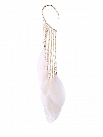 White Alloy Tassel Feather Chic Women Earrings