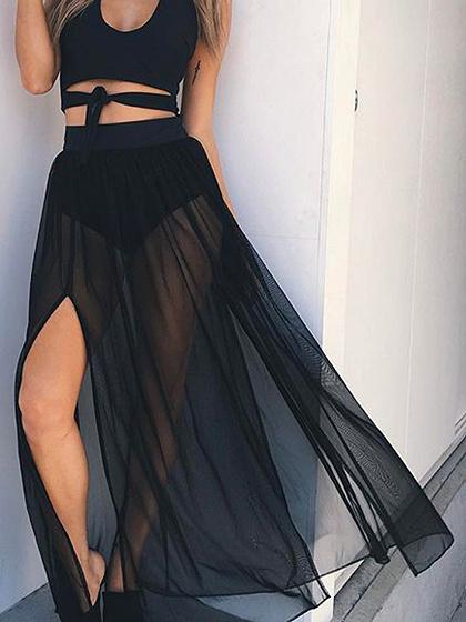 Black High Waist Thigh Split Side Chic Women Sheer Maxi Skirt