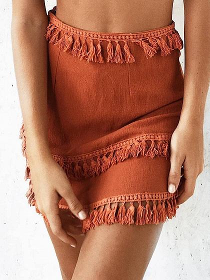Dark Brown High Waist Tassel Panel Chic Women Mini Skirt