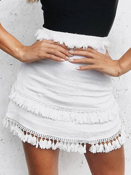 Weiße hohe Taille Quaste Panel Chic Frauen Minirock