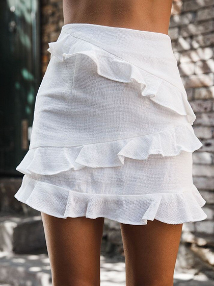 White Cotton High Waist Ruffle Trim Chic Women Mini Skirt